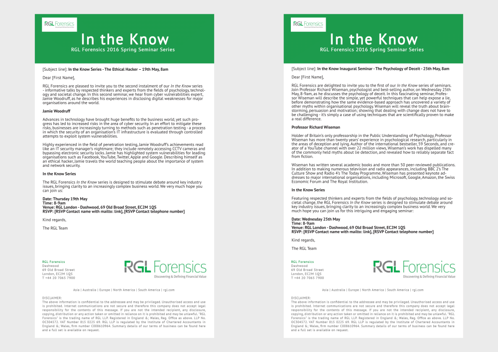 Part of an email marketing series for RGL Forensics