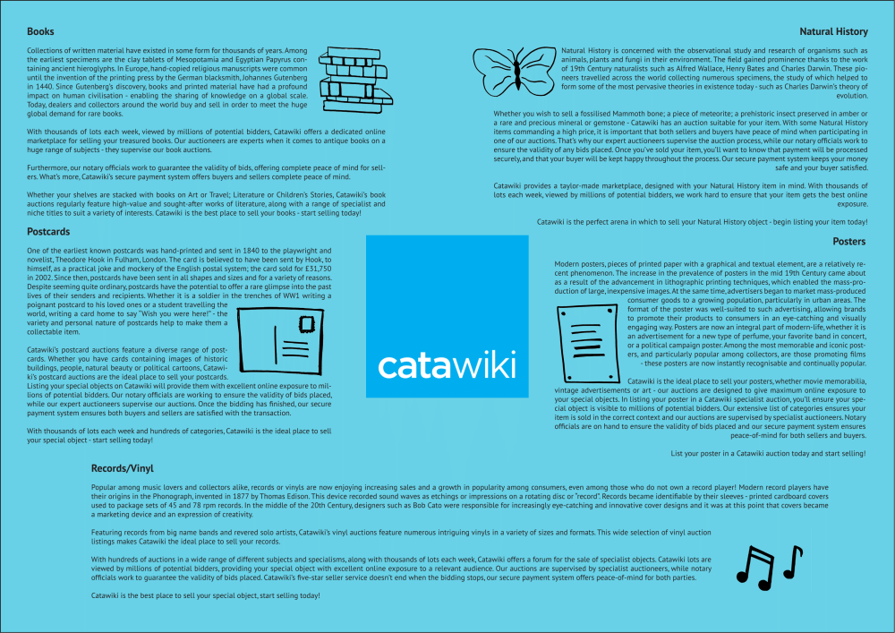 A series of intriguing SEO texts for Catawiki