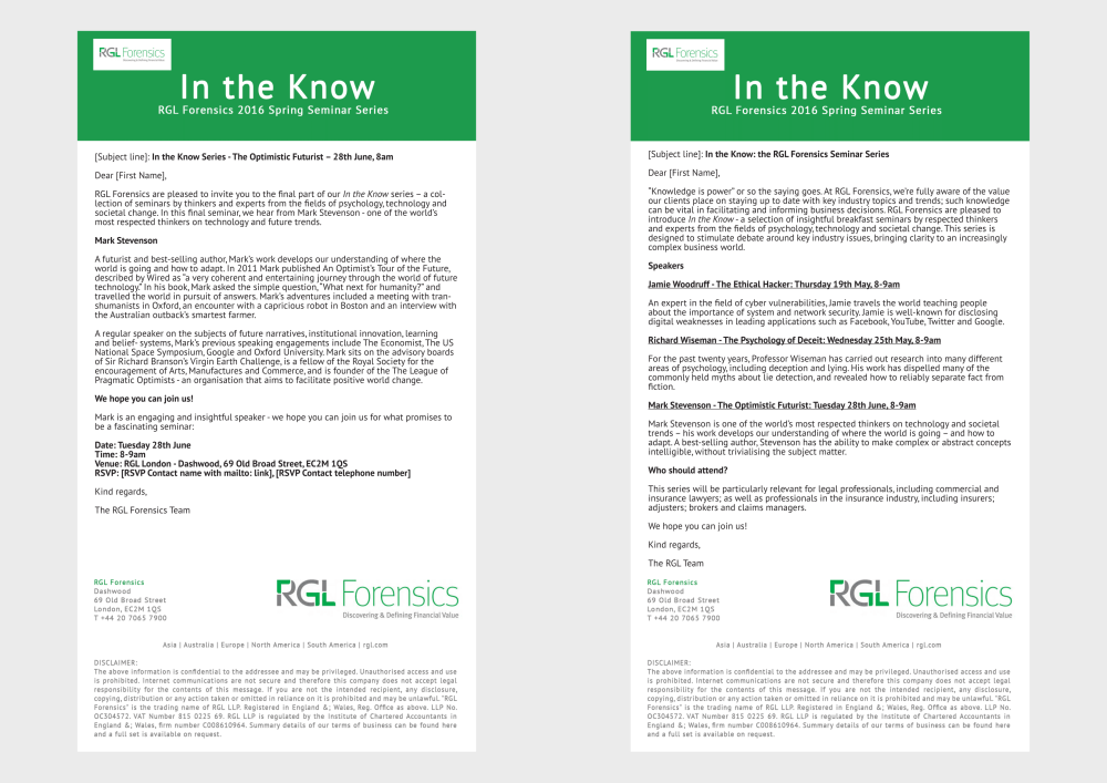 Part 2 of an email marketing campaign I produced for RGL Forensics